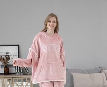 Pyjama confortable en flanelle à capuche pour femme