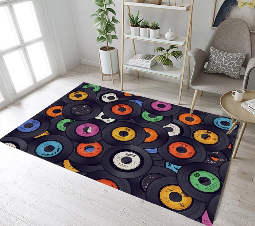 Tapis avec motifs de disques vinyles