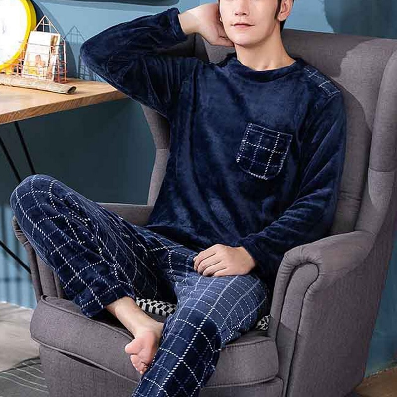 Pyjama bleu marine imprimé carreaux pour homme