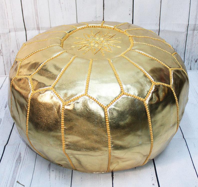 Pouf doré cuir style berbère