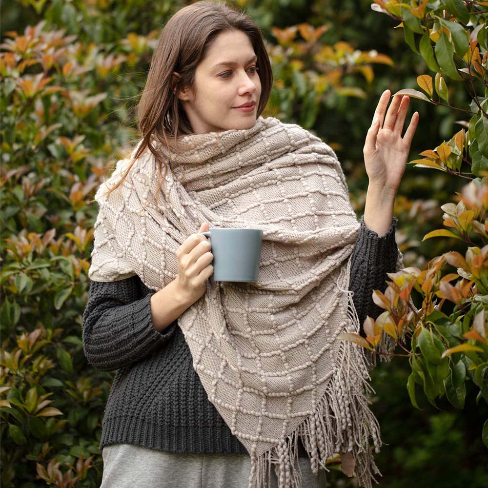 Couverture nordique tricotée au fil