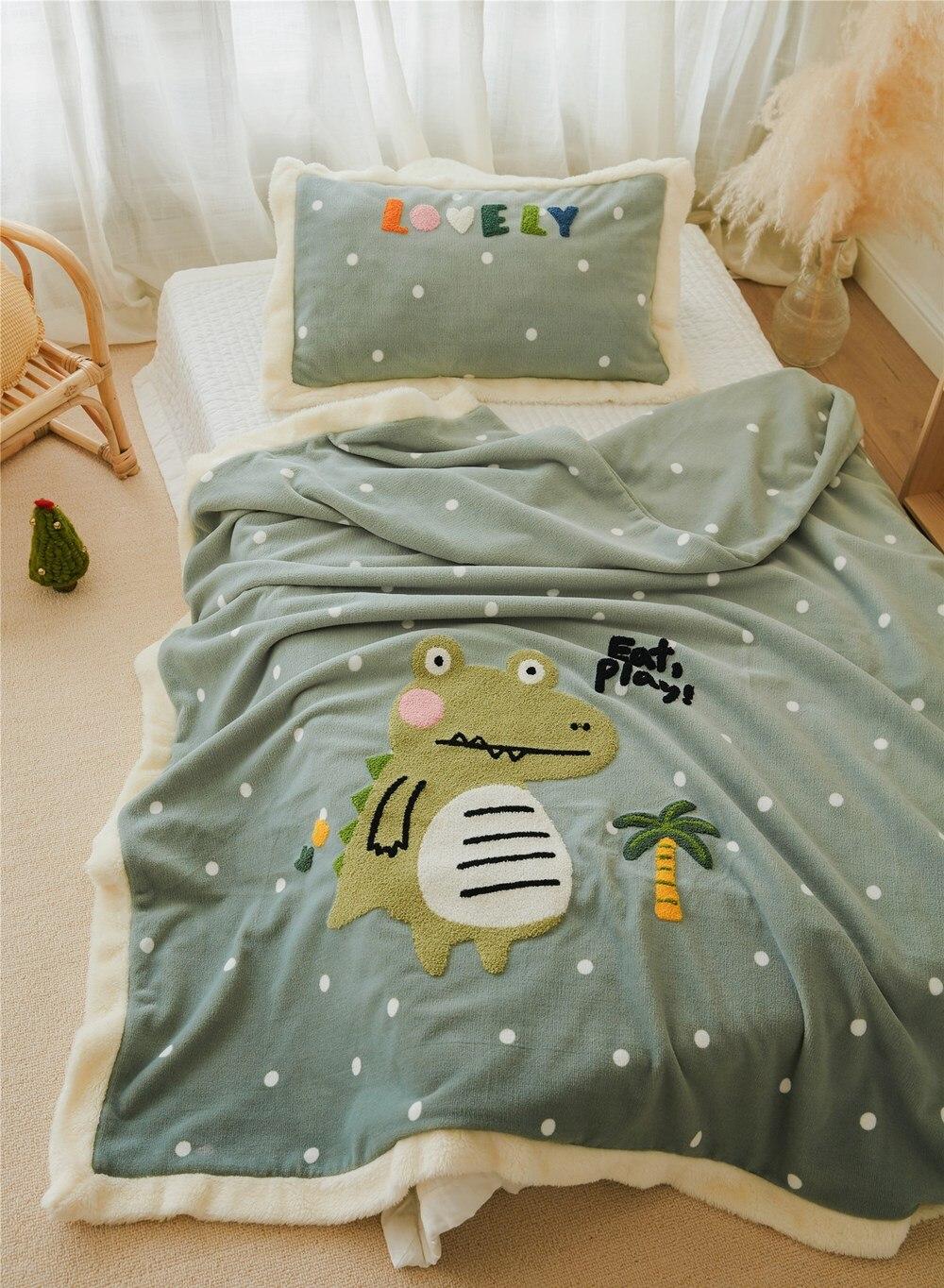 Couverture douillette verte petit crocodile 3 pièces