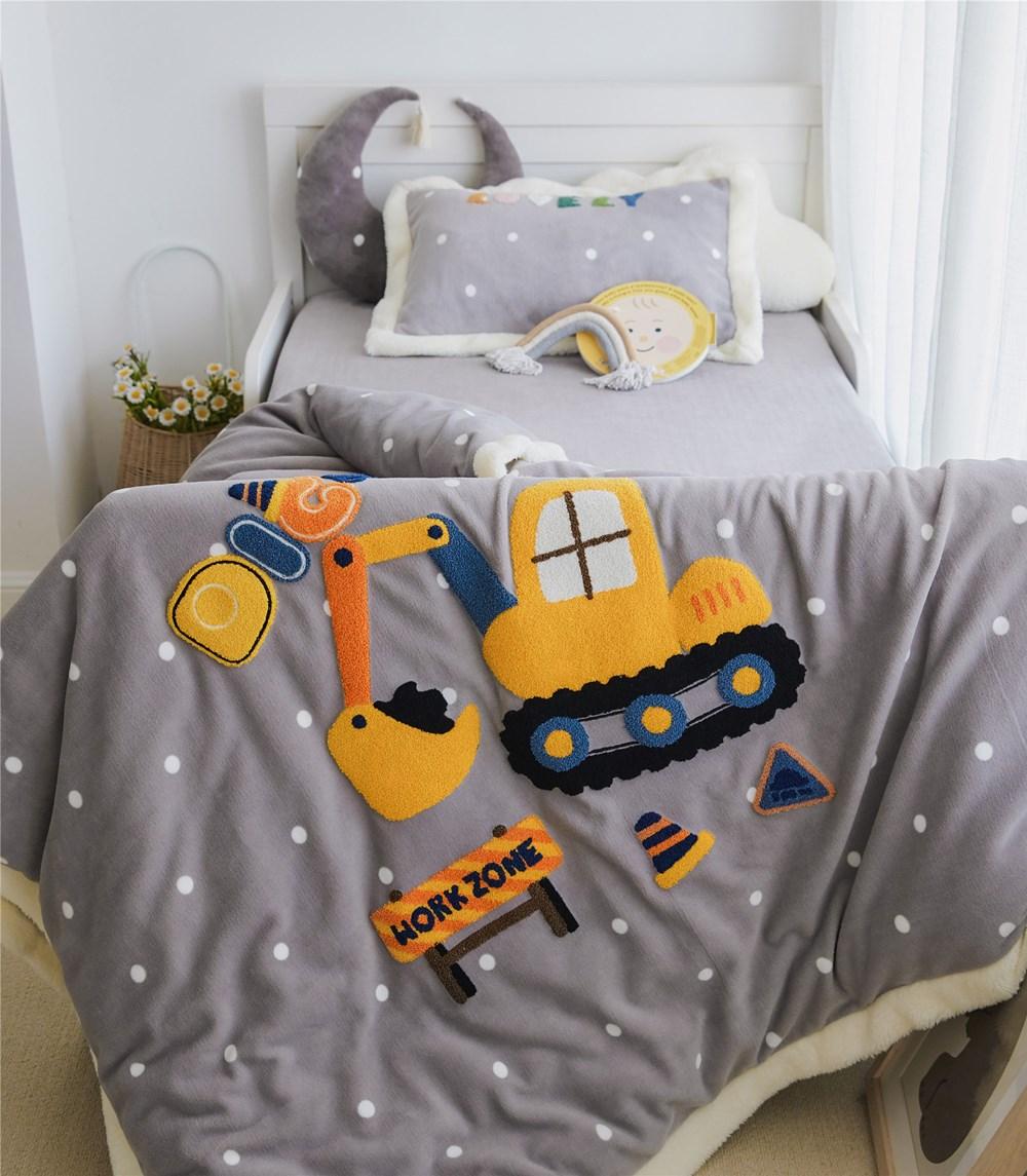 Couverture douillette grise à motifs 3 pièces pour bébé