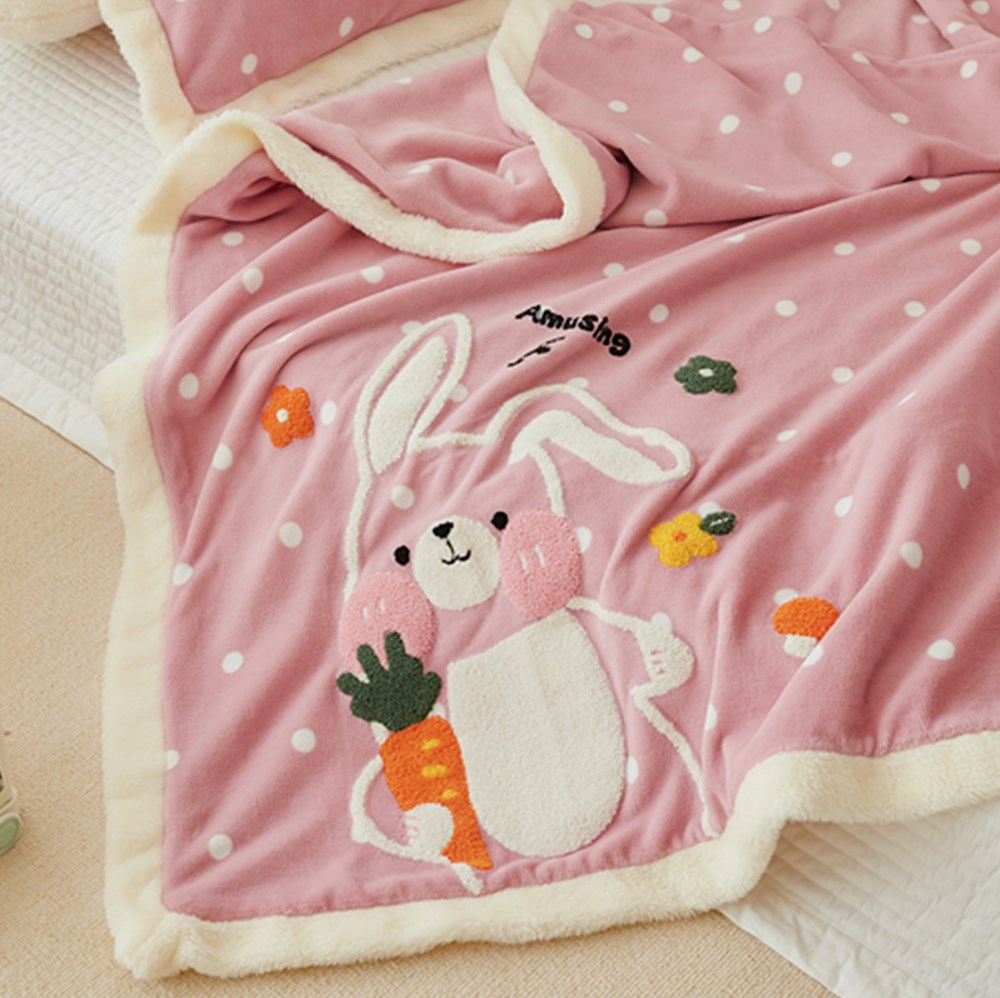 Couverture douillette lapin rose 3 pièces
