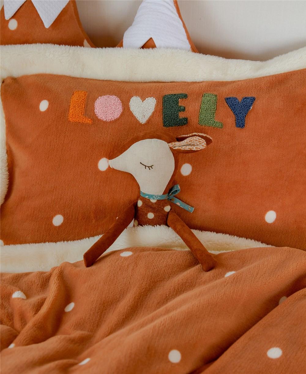 Couverture douillette petit lion orange 3 pièces