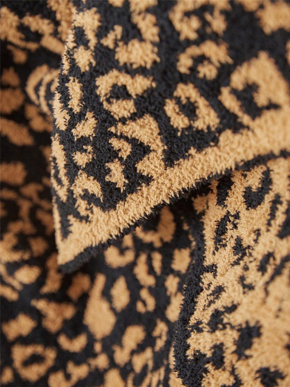 Plaid imprimé léopard marron