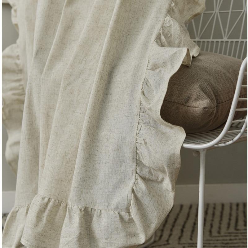Rideau à volants en coton et lin semi ombrage