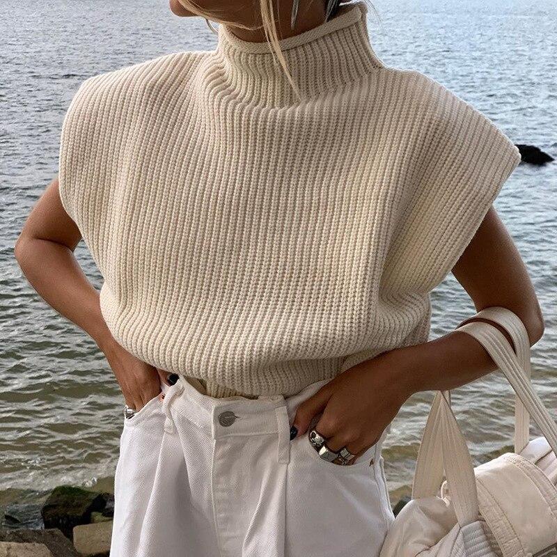 Pull tricot sans manche
