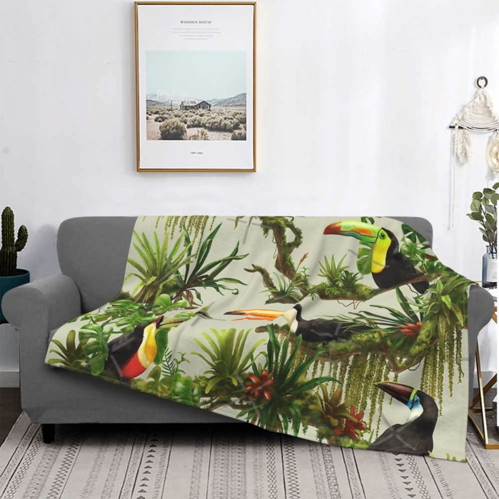 Plaid à motifs toucans et jungle