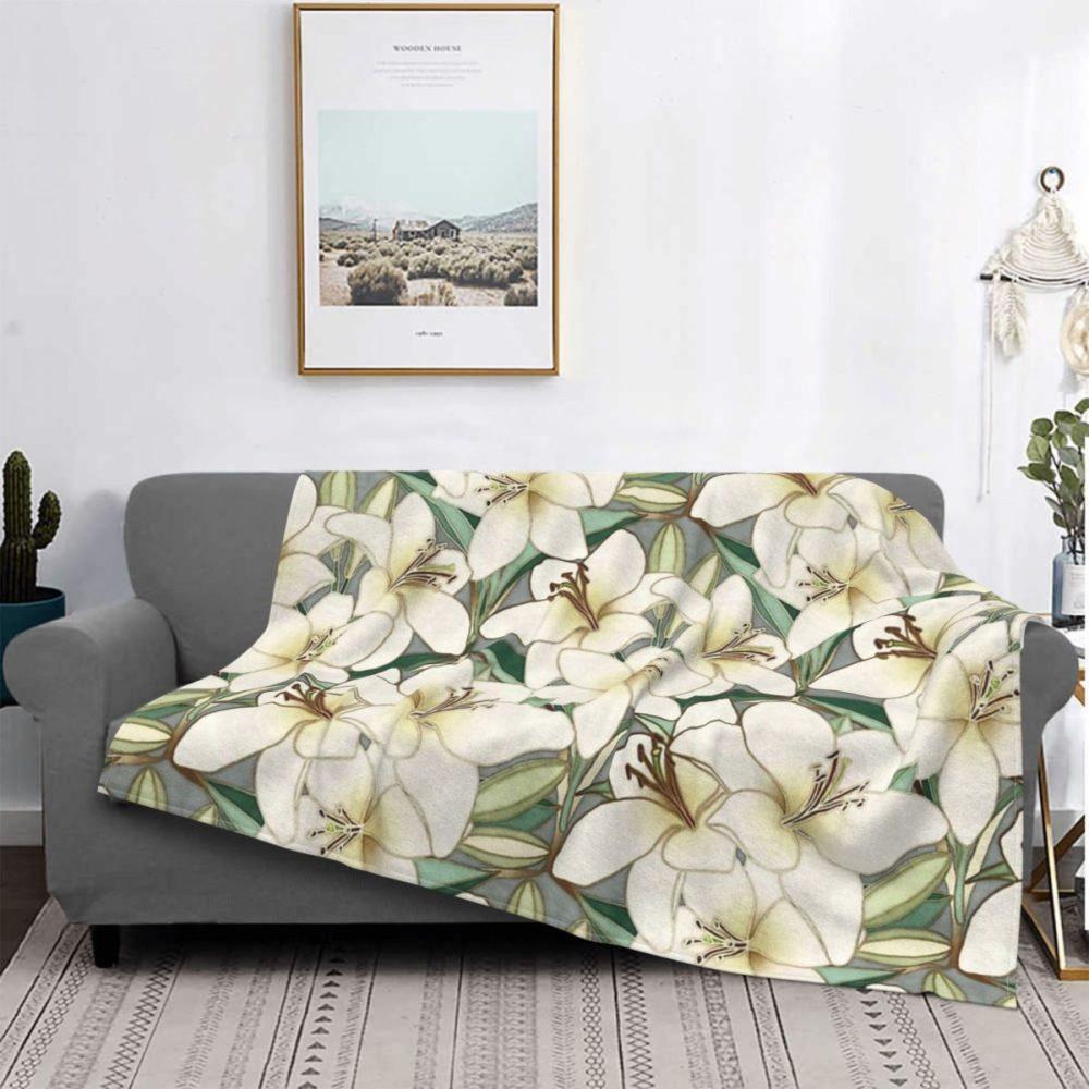 Plaid impression fleurs de lys blanches