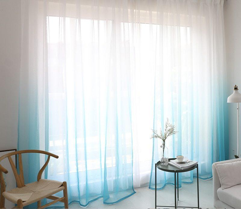 Rideau de fenêtre en tulle à couleur dégradée moderne