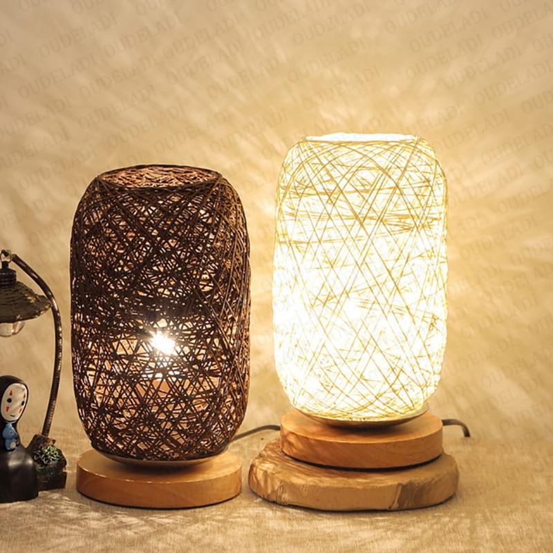 Lampe de table en rotin et bois en forme de boule
